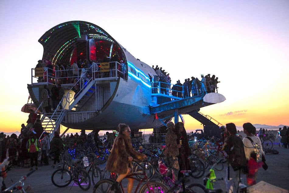 Burning Man 747 Camp at dusk