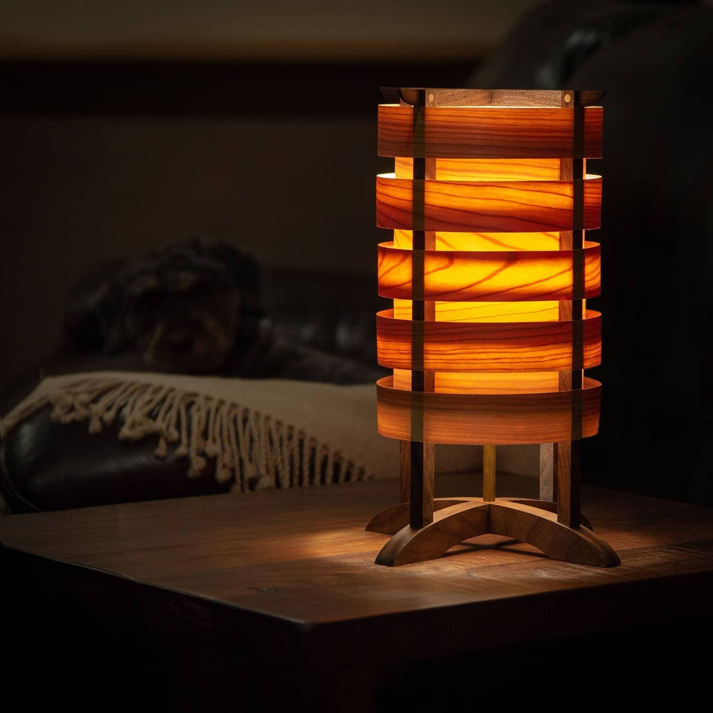 Handmade lamp by David Ryan Scott with all fitted joints. No screws or nails!