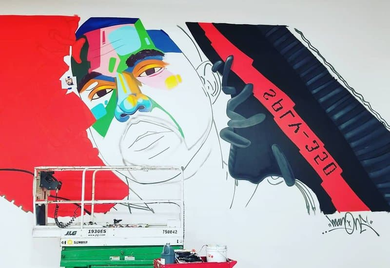 art mural of kanye west