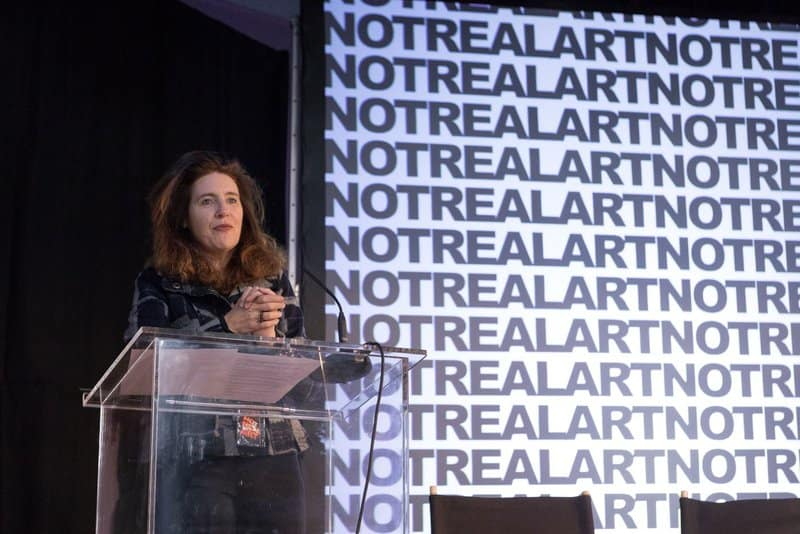 frances public speaking at the not real art conference