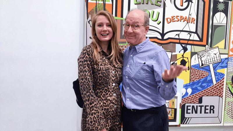 jerry saltz with artist rachel o'donnell