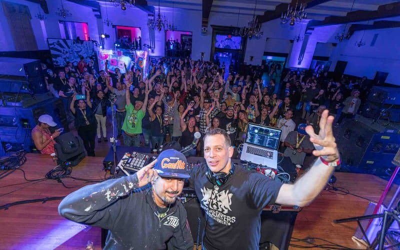 Artist Gonzo247 and DJ Z-Trip headlined the official DesignerCon party in 2017