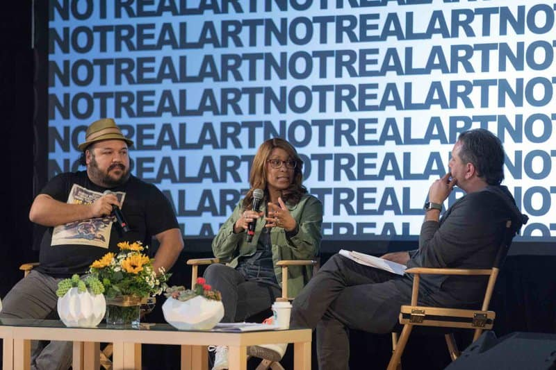 Channing Dungey speaking at the 2019 NOT REAL ART Conference for Creators with Jorge Gutierrez