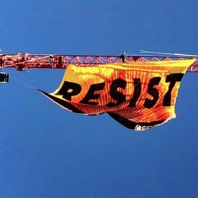 Resist banner: Art meets direct political action with Nancy Pili Hernandez
