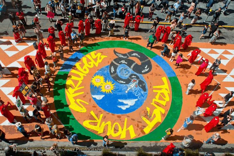 40' x 40 ft. Climate Justice Street Mural Project , San Francisco, Ca., 2019, by Cece Carpio & Nancy Pili