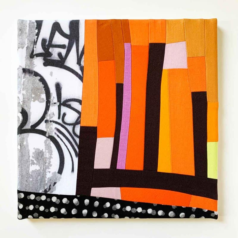 """Artist Andrew Steinbrecher uses the """"controlled chaos of and dichotomy of urban environments"""" to create graphic prints, quilts, and fabric collages."""