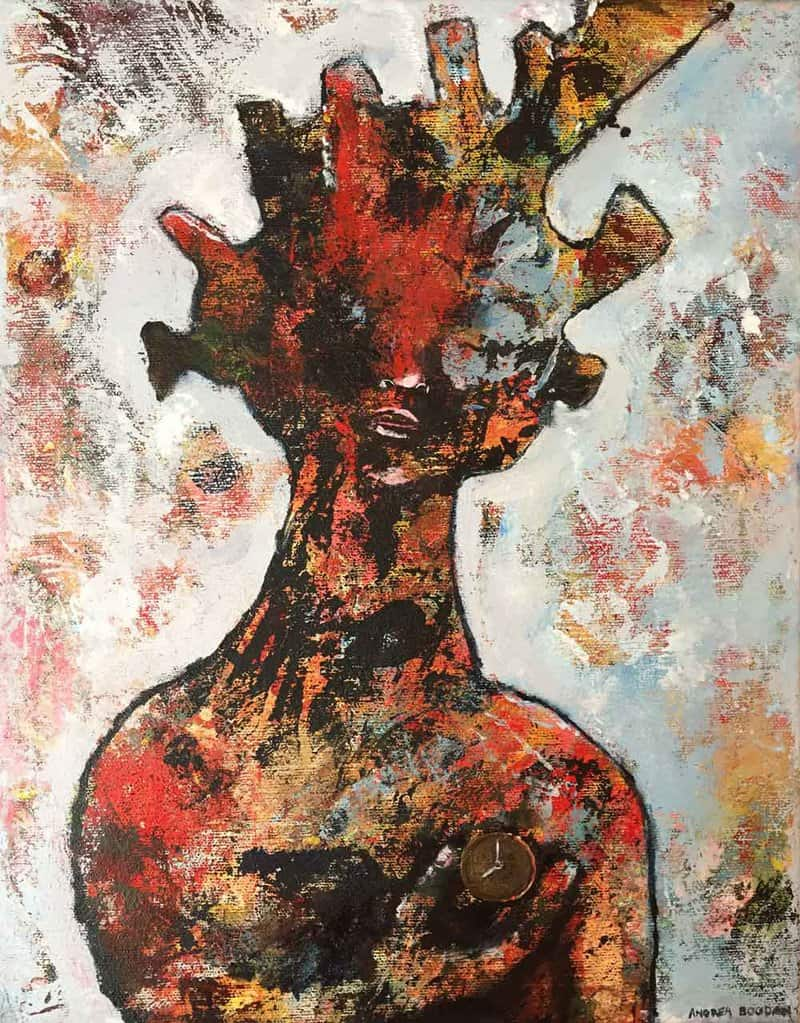 LA-based painter Andrea Bogdan merges rugged texture and fantastical imagery to create expressive abstract portraits.