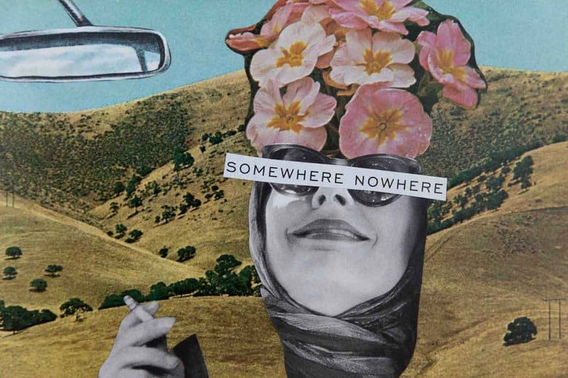 Using found papers, book pages, and magazine clippings, Elyse' Jokinen assembles her bright collages with a perceptive spontaneity