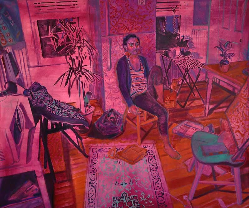 Awash with rich color, Shabnam's Jannesari's large-scale oil paintings illustrate clandestine spaces for women to gather in secret.