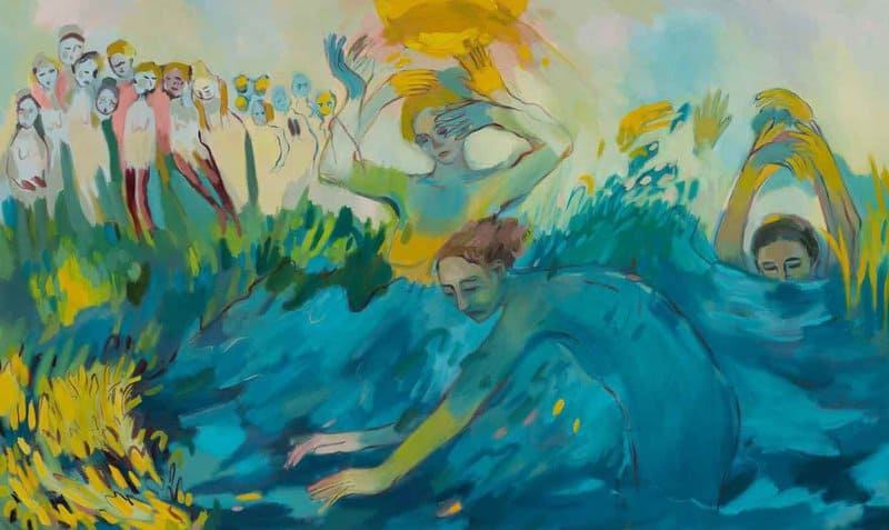 Artist Vanessa McKernan draws inspiration from her background in performance art by packing her work with willowy figures who seem to float on tiptoe through a watery dreamscape.