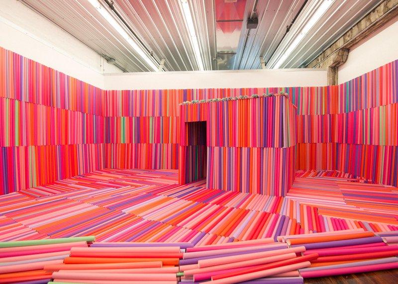 """Estera"""" Installation by the artist Natalia Villanueva Linares at the Prairie Center of the Arts, Peoria, IL."""