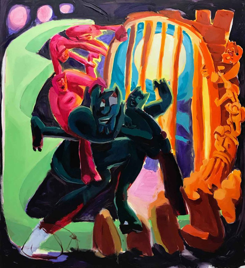 Lydia Crouse's demon-filled paintings invite both orgiastic ecstasy and exquisite pain in an absurdist rescripting of the human story.