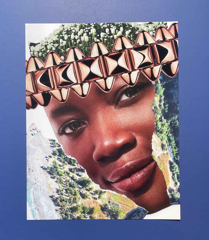 St. Louis-based artist B.N. Blithe de Carona drowns her anxieties in bright paper collages and somber self-portraits that seek to heal Black trauma caused by constant politicization, policing, and commodification.